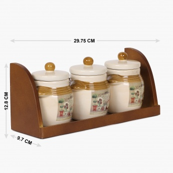 Garden Banquet Storage Canister With Wooden Stand- Set Of 4 pcs