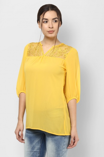 FUSION BEATS Balloon Sleeves Kurti