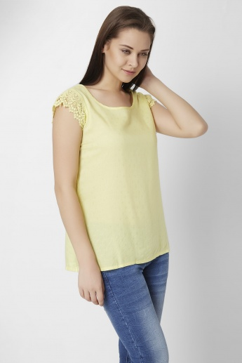 BOSSINI Lace Detail Textured Top