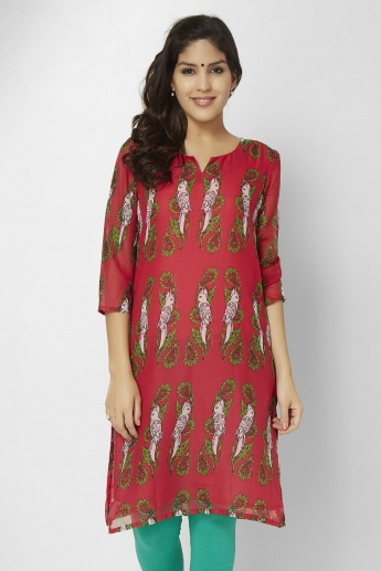 MELANGE Printed Round Notch Neck Kurti