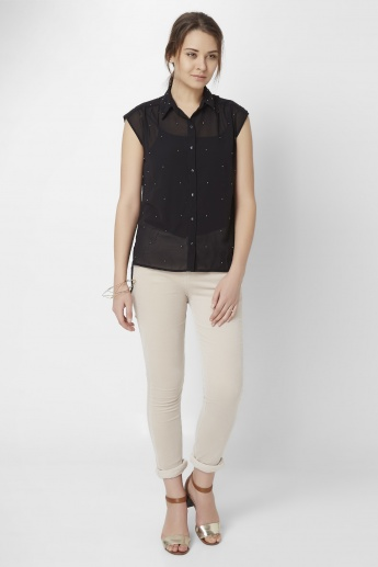 GINGER Pearls & Cuts Blouse