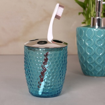 Hudson Embossed Glass Tooth Brush Holder