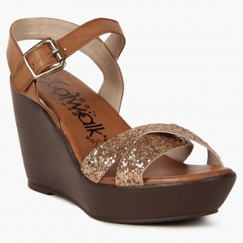 CATWALK Glittery Straps Wedges