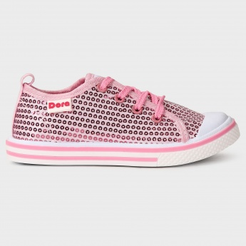 BIOWORLD Sequined Lace Up Shoes