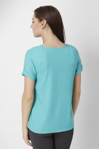 CODE V-Neck Fold-over Sleeves T-Shirt