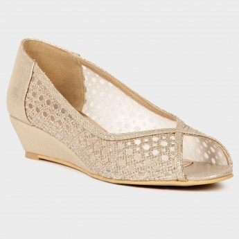 RAW HIDE Embellished Peep Toe Wedges