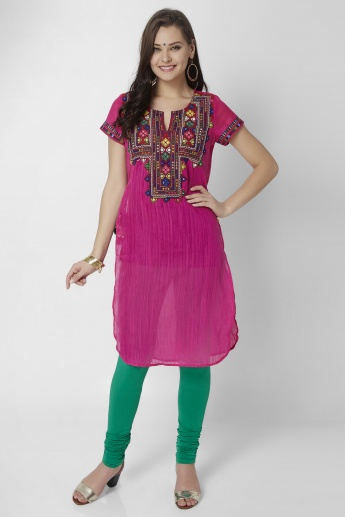 BIBA Round Notch Neck Curved Hem Kurti