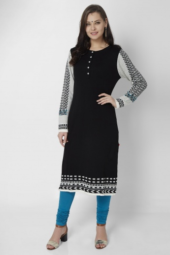 W Monochrome Haze Full Sleeves Kurti