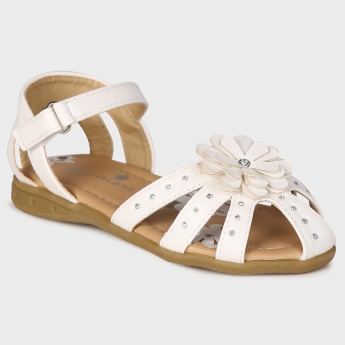 JUNIORS Flower Detail Velcro Closure Sandals
