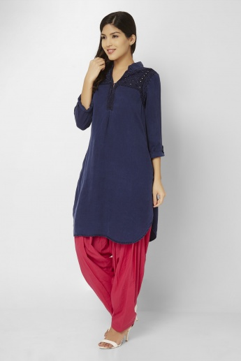 BIBA Roll-Up Sleeves Denim Kurti