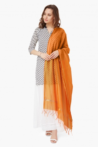 MELANGE Solid Tasselled Edges Dupatta