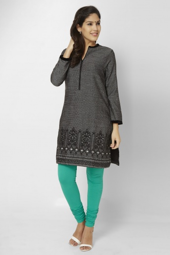 BIBA Band Collar Embroidered Kurti