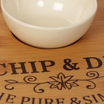 Beautiful Home Bamboo Chip And Dip With Ceramic Bowl