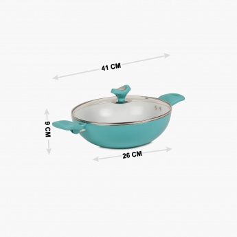 Briston Ceramic Coated Kadhai With Lid - 26 CM