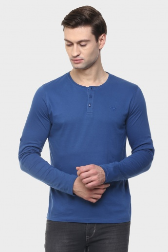 FAME FOREVER Henley Collar Roll-Up Sleeves T-Shirt