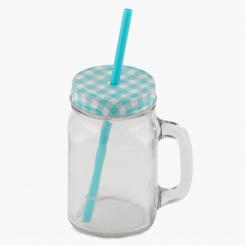 Peroni Mason Jar With Lid And Straw - 420 ml