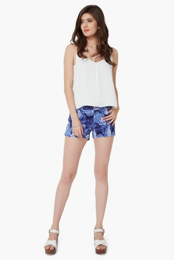 GINGER Floral Print Five Pocket Shorts