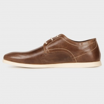 RED TAPE Tan Crumple Texture Laceup Shoes