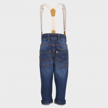 JUNIORS Suspender Denim Pants