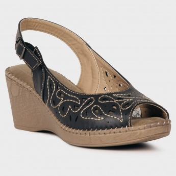 TRESMODE Embroidered Peep Toe Wedges