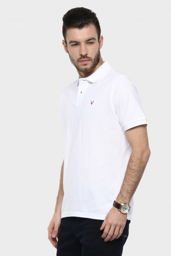 ALLEN SOLLY Solid Polo Neck T-Shirt