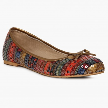 MELANGE Printed Sequinned Ballerinas