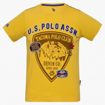 U.S. POLO ASSN KIDS Crew-Neck Graphic Print T-Shirt