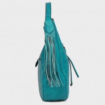 PAPRIKA Fringed Hobo Handbag