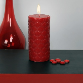 Splendid Redolance Embossed Pillar Candle - 15 CM