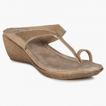 RAW HIDE Shimmery Straps Mini Wedges