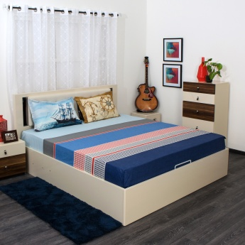 SPACES Denim Printed Double Bedsheet Set