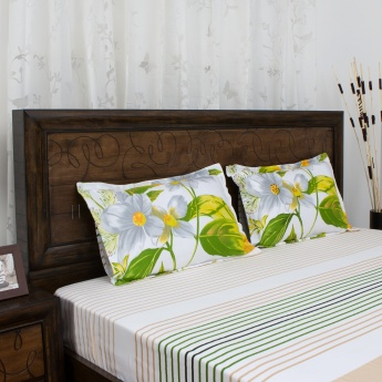 PORTICO BOTANICAL Printed Super King Size Bedsheet And Pillow Cover Set