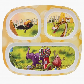 City Goes Wild Rectangular 3 Partition Kids Plate