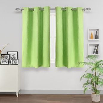 Azure Aspen Solid Window Curtain - Set Of 2 Pcs