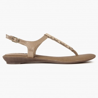 RAW HIDE Metallic Strap Flat Sandals