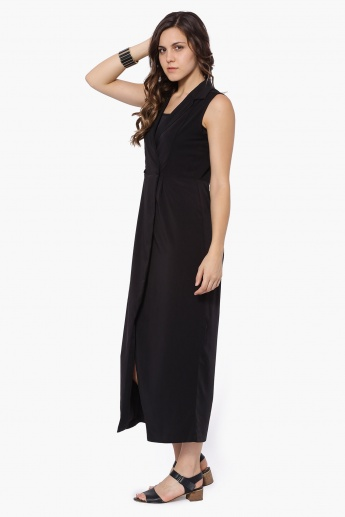 CODE Lapel Collar Sleeveless Dress