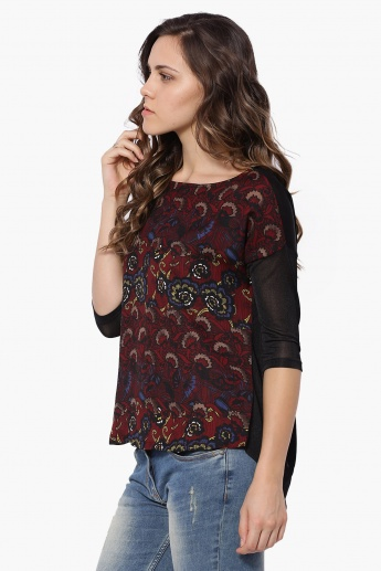 CODE Printed Extended Shoulders Top