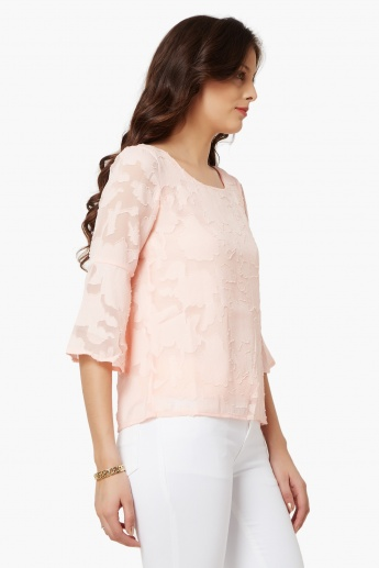 CODE Textured Bell Sleeves Blouse