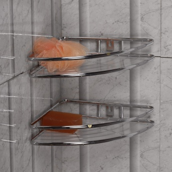 Burlington Single Tier Corner Shower Caddy Set- 2 Pcs.