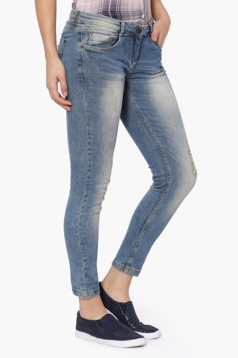 GINGER Light Wash Distressed Jeans
