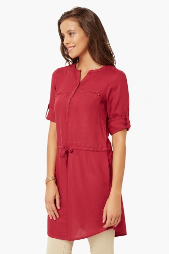 FAME FOREVER Solid Roll-Up Sleeves Tunic