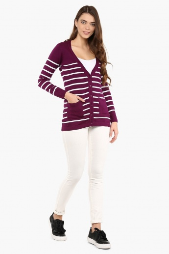 FAME FOREVER Striped Button Up Cardigan