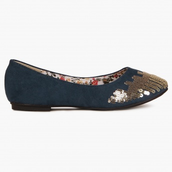 JUNIORS Sequinned Slip Ons Bellies