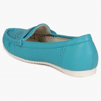 JUNIORS Metallic Bow Moccassins