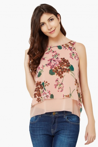 CODE Floral Print Layered Top