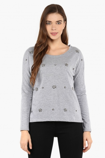 GINGER Embellished High Low Sweater