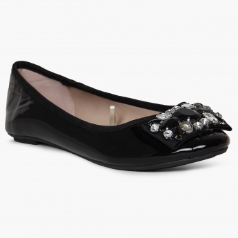 GINGER Faux Crystal Patent Finish Bellies