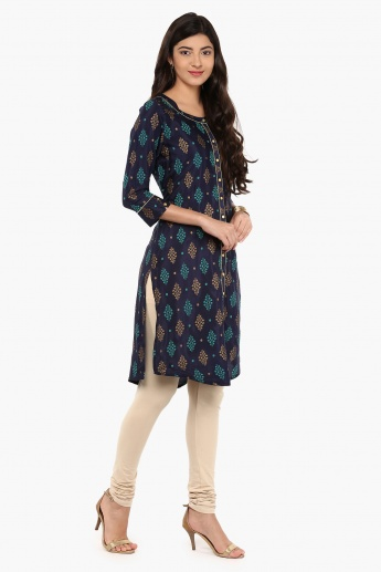 MELANGE Motif Print Button Up Kurta