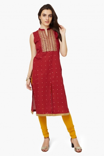 MELANGE Embroidered Mnadarin Collar Kurta