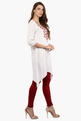 MELANGE Embroidered Graph Asymmetrical Kurti